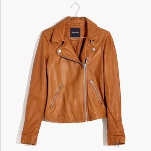 Madewell Washed Leather Motorcycle Jacket Brown